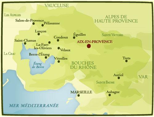 Secteur géopgraphique AOP Aix en Provence